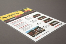 Example of laminated swing tag flyers advertising services, printed in Sydney by Pictura Creative