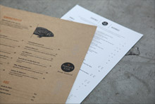 Digital printing example of cafe menu and wine list by Pictura Creative