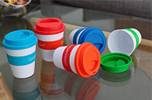 Marketing ideas - travel coffee cups in a variety of colours