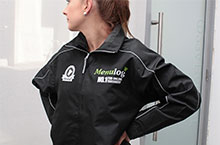 Logos printed on workwear. Menulog Jacket - front view
