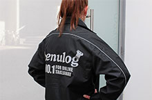 Logos printed on workwear. Menulog Jacket - back view