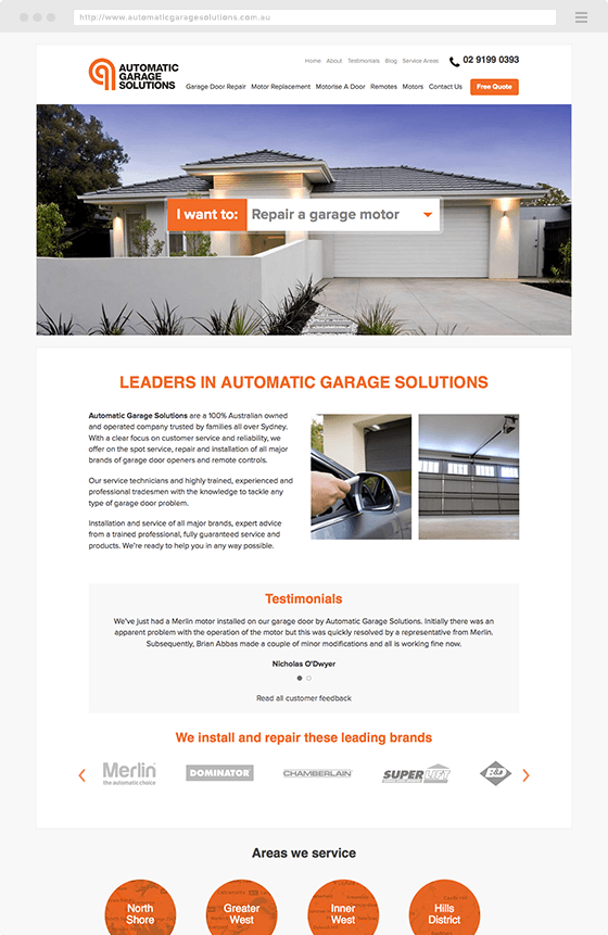 Example of Pictura Creative Branding and Web Design - Automatic Garage Solutions Website