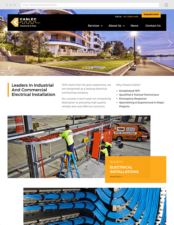 Example of Pictura Creative Website Design & Development - Caslec Electrical & Data Website